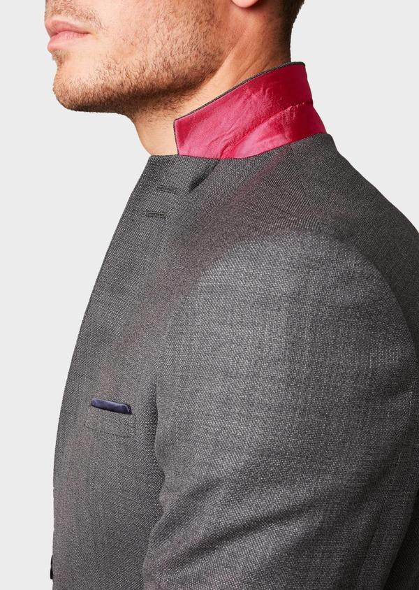 Costume 2 pièces Regular en laine façonnée unie grise - Father and Sons 5685