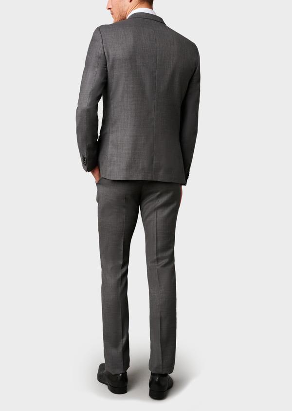 Costume 2 pièces Regular en laine façonnée unie grise - Father and Sons 5684