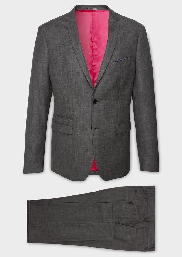 Costume 2 pièces Regular en laine façonnée unie grise - Father and Sons 5681