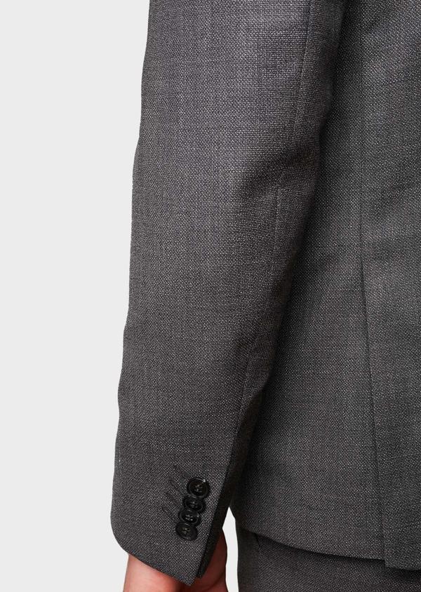 Costume 2 pièces Regular en laine façonnée unie grise - Father and Sons 5686