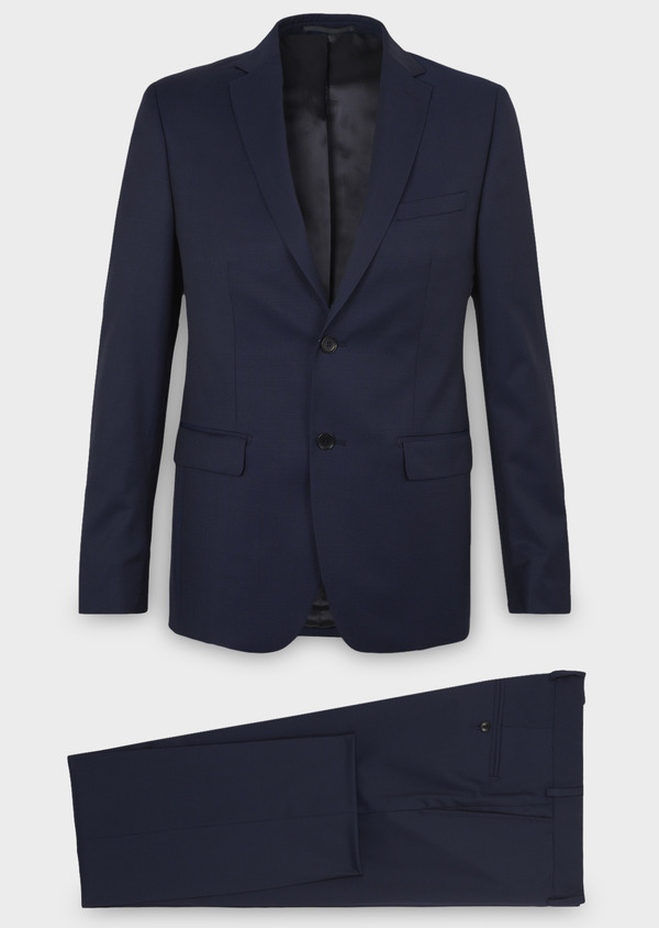 Costume 2 pièces Regular en laine Vitale Barberis Canonico unie bleu indigo - Father and Sons 8679