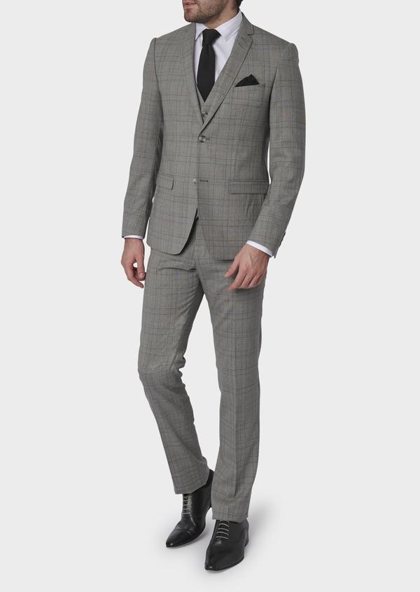 Costume 2 pièces Slim en laine grise Prince de Galles - Father and Sons 5723