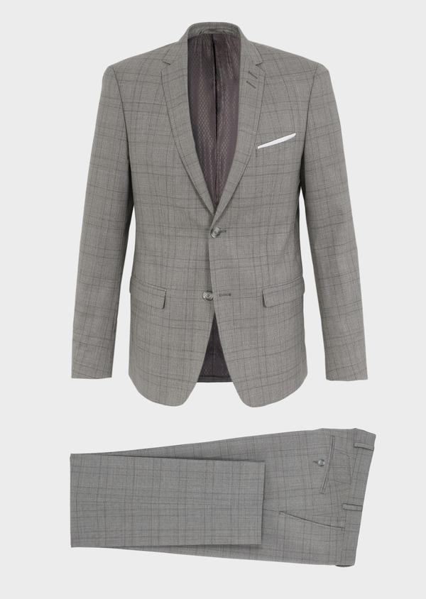 Costume 2 pièces Slim en laine grise Prince de Galles - Father and Sons 5721