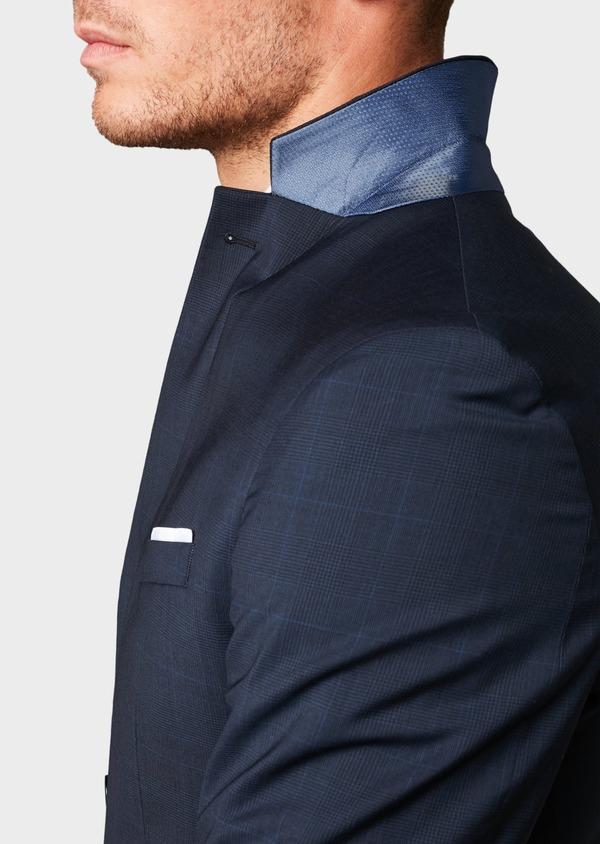 Costume 2 pièces Slim en laine bleu marine Prince de Galles montage Napolitain - Father and Sons 5895