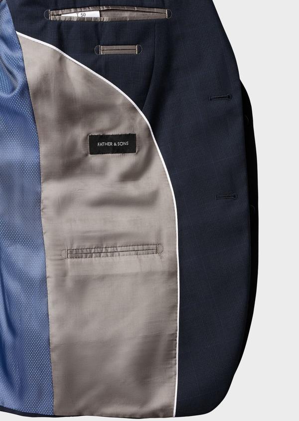 Costume 2 pièces Slim en laine bleu marine Prince de Galles montage Napolitain - Father and Sons 5897