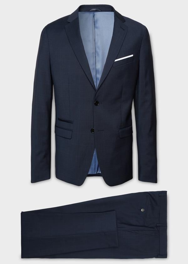 Costume 2 pièces Slim en laine bleu marine Prince de Galles montage Napolitain - Father and Sons 5891
