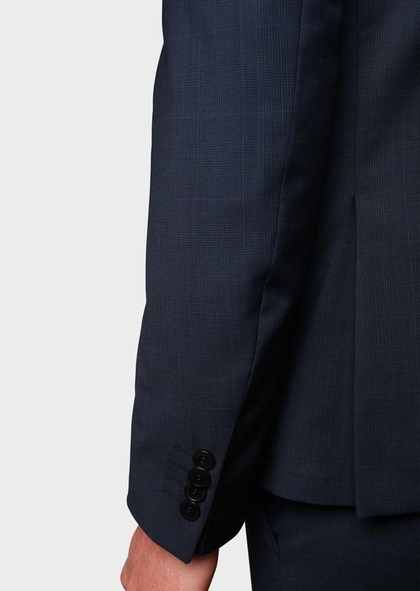 Costume 2 pièces Slim en laine bleu marine Prince de Galles montage Napolitain - Father and Sons 5896