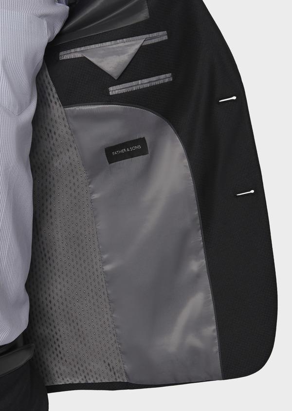 Costume 2 pièces Slim en laine façonnée unie gris anthracite - Father and Sons 5737