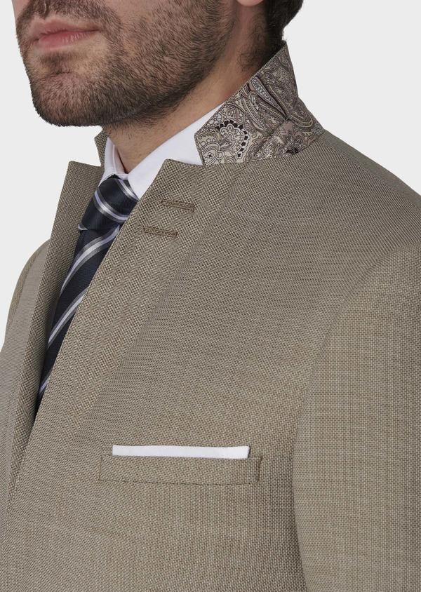 Costume 2 pièces Slim en laine façonnée unie beige - Father and Sons 5835