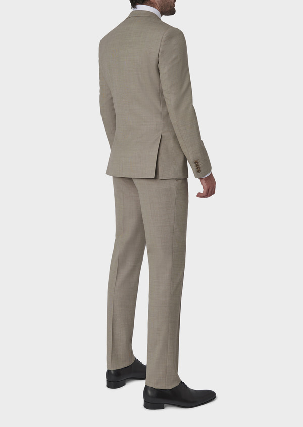 Costume 2 pièces Slim en laine façonnée unie beige - Father and Sons 5834