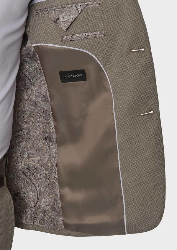Costume 2 pièces Slim en laine façonnée unie beige - Father and Sons 5837