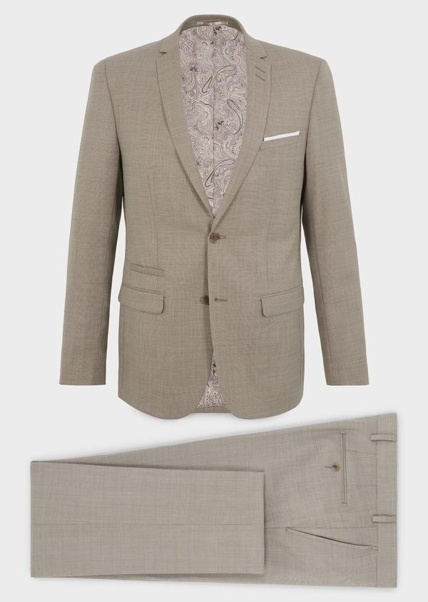 Costume 2 pièces Slim en laine façonnée unie beige - Father and Sons 5831