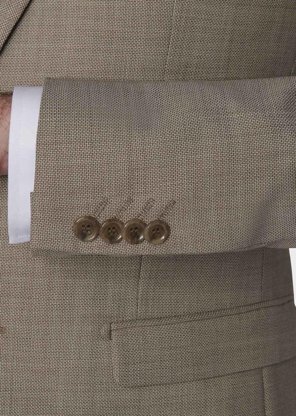 Costume 2 pièces Slim en laine façonnée unie beige - Father and Sons 5836