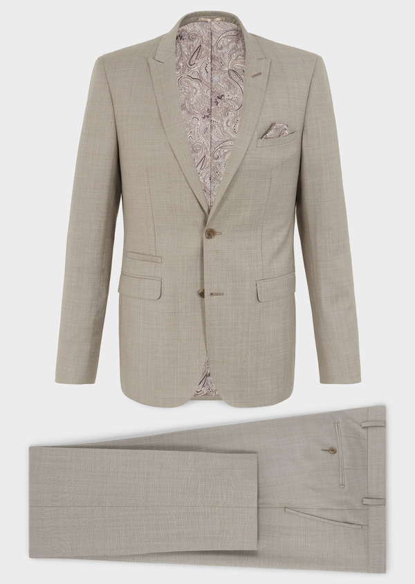 Costume 2 pièces Slim en laine beige - Father and Sons 5841