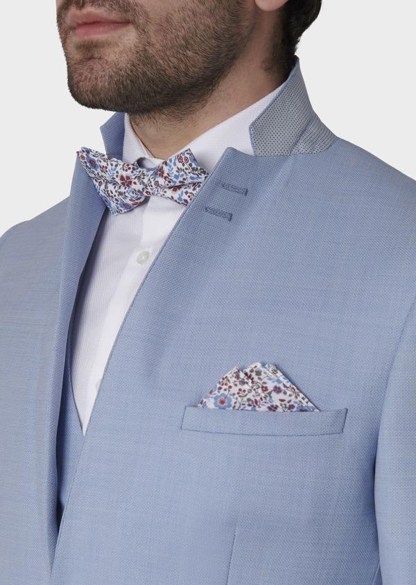 Costume 2 pièces Slim en laine façonnée unie bleu ciel - Father and Sons 5795
