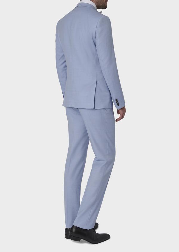 Costume 2 pièces Slim en laine façonnée unie bleu ciel - Father and Sons 5794