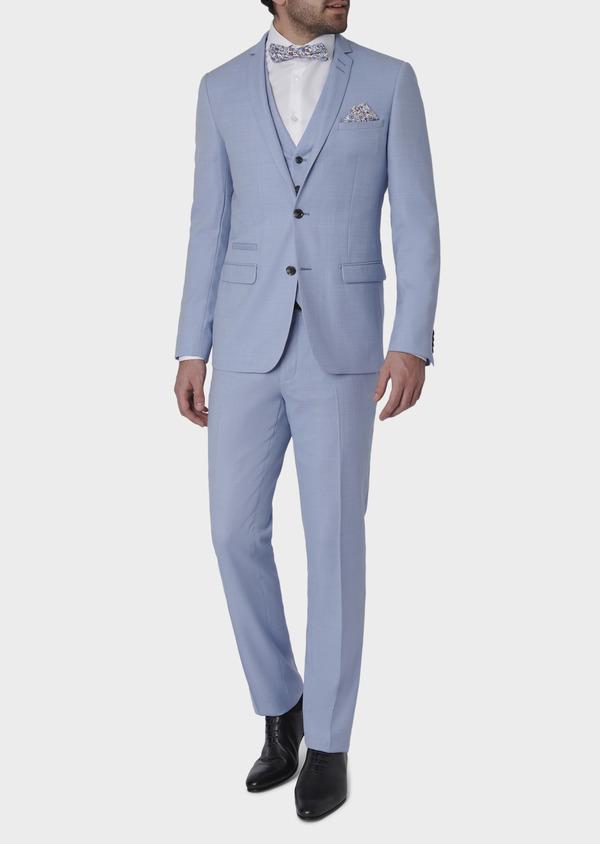 Costume 2 pièces Slim en laine façonnée unie bleu ciel - Father and Sons 5793
