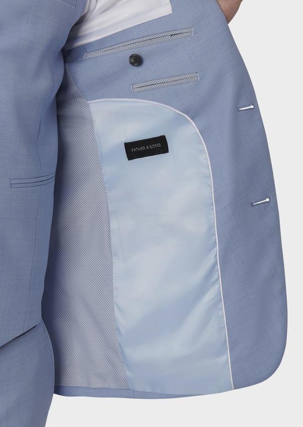 Costume 2 pièces Slim en laine façonnée unie bleu ciel - Father and Sons 5797