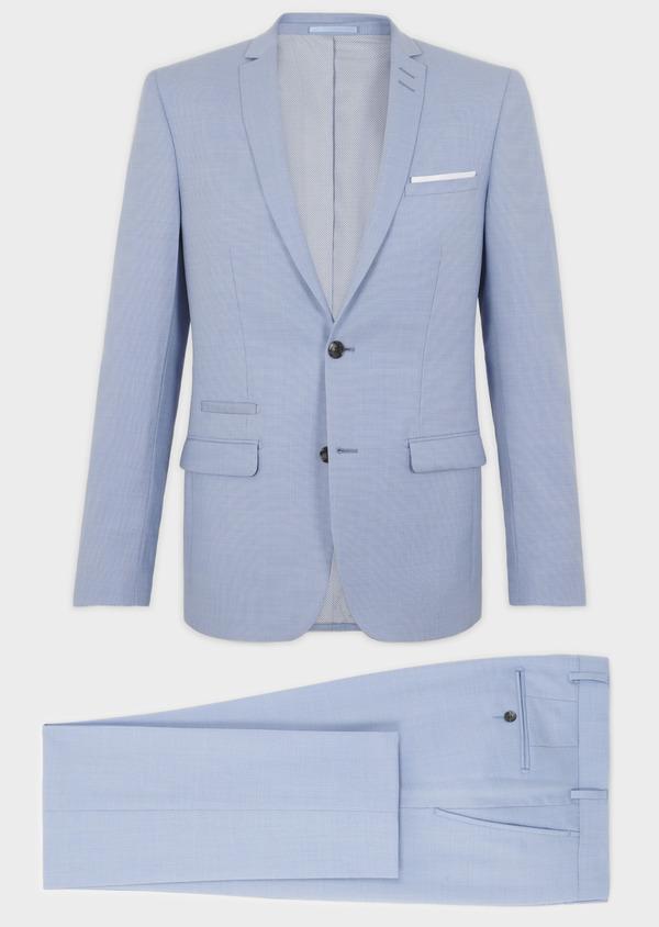 Costume 2 pièces Slim en laine façonnée unie bleu ciel - Father and Sons 5791