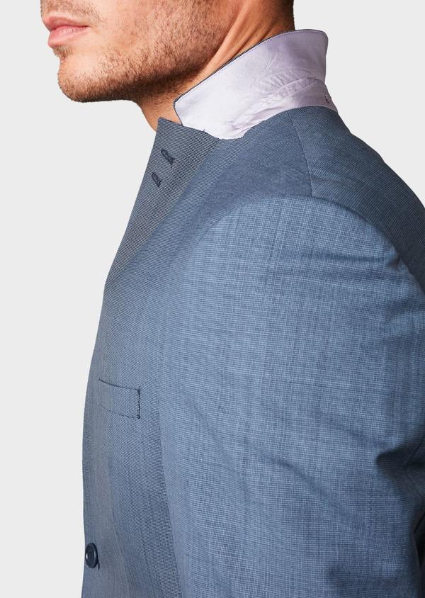 Costume 2 pièces Slim en laine façonnée unie bleu gris - Father and Sons 5805