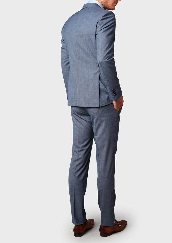 Costume 2 pièces Slim en laine façonnée unie bleu gris - Father and Sons 5804