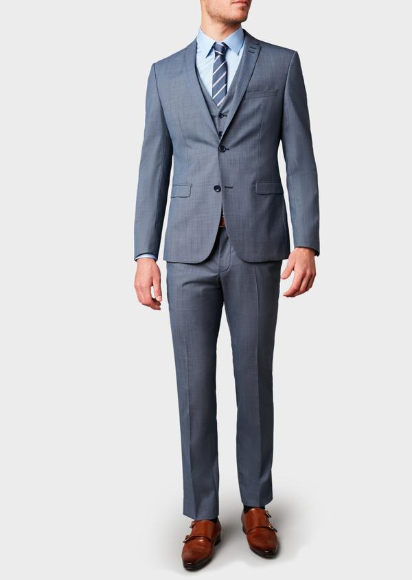 Costume 2 pièces Slim en laine façonnée unie bleu gris - Father and Sons 5803