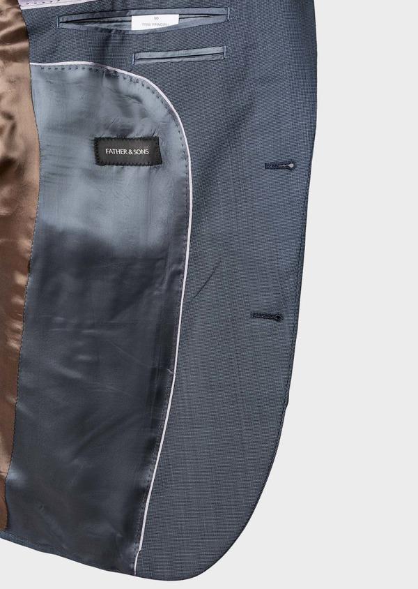 Costume 2 pièces Slim en laine façonnée unie bleu gris - Father and Sons 5807