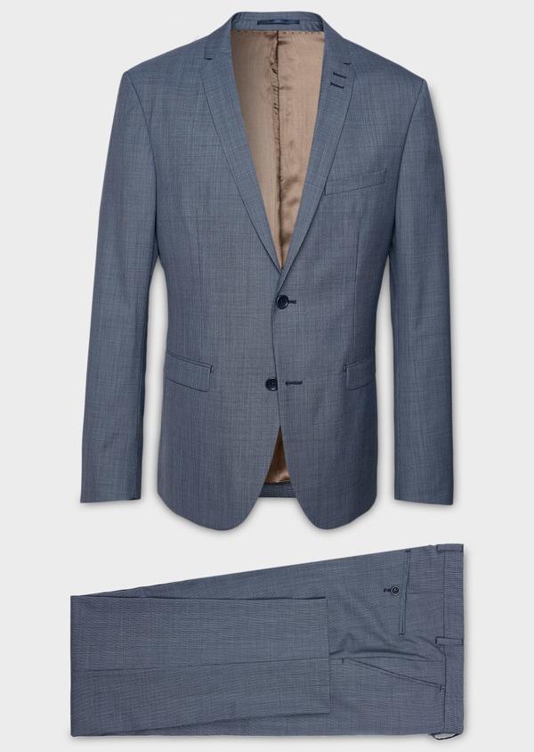 Costume 2 pièces Slim en laine façonnée unie bleu gris - Father and Sons 5801