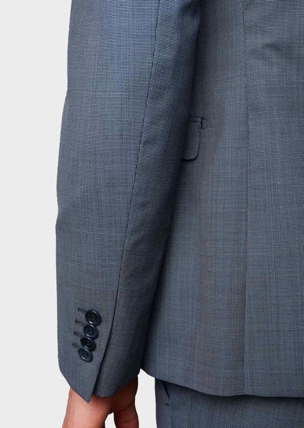 Costume 2 pièces Slim en laine façonnée unie bleu gris - Father and Sons 5806
