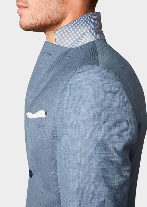 Costume 2 pièces Slim en laine façonnée unie bleu gris montage Napolitain - Father and Sons 5905