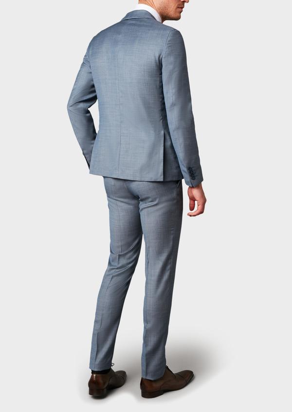 Costume 2 pièces Slim en laine façonnée unie bleu gris montage Napolitain - Father and Sons 5904