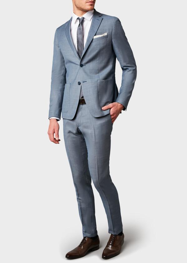Costume 2 pièces Slim en laine façonnée unie bleu gris montage Napolitain - Father and Sons 5903