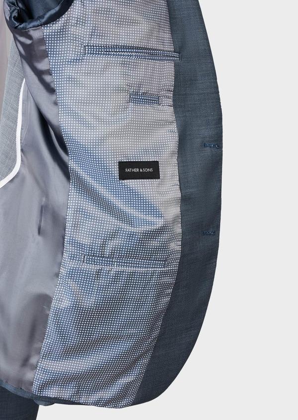 Costume 2 pièces Slim en laine façonnée unie bleu gris montage Napolitain - Father and Sons 5907