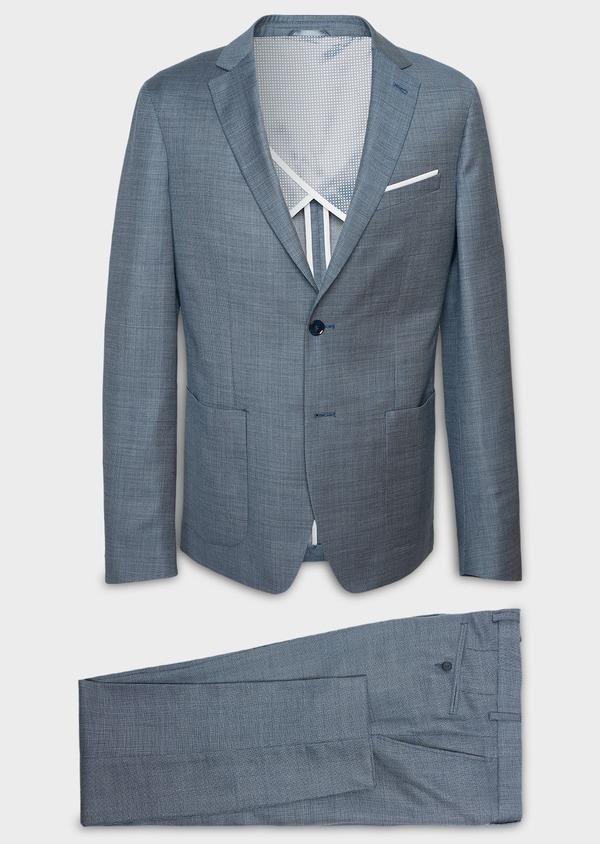 Costume 2 pièces Slim en laine façonnée unie bleu gris montage Napolitain - Father and Sons 5901