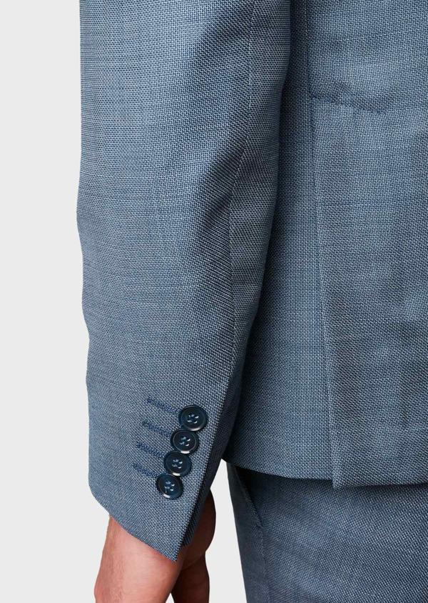Costume 2 pièces Slim en laine façonnée unie bleu gris montage Napolitain - Father and Sons 5906