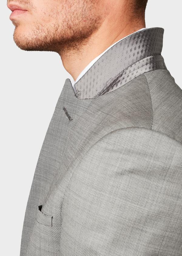 Costume 2 pièces Slim en laine façonnée unie grise - Father and Sons 8101