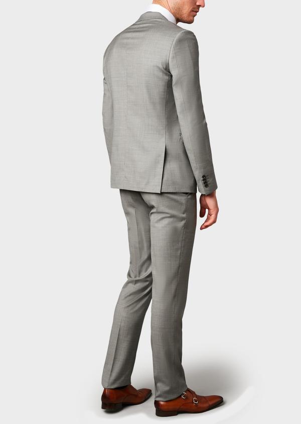 Costume 2 pièces Slim en laine façonnée unie grise - Father and Sons 8100