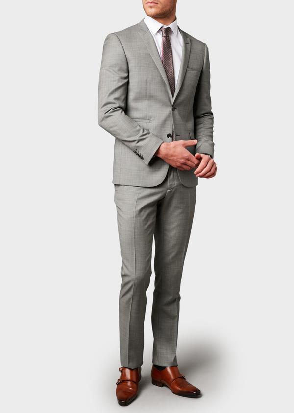 Costume 2 pièces Slim en laine façonnée unie grise - Father and Sons 8099