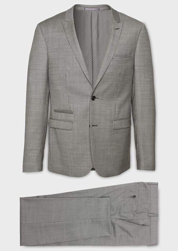 Costume 2 pièces Slim en laine façonnée unie grise - Father and Sons 8097