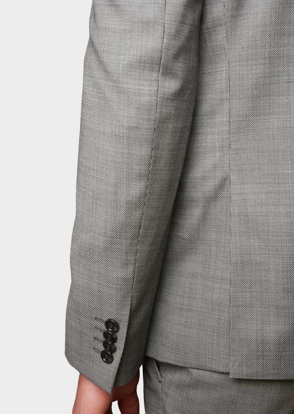 Costume 2 pièces Slim en laine façonnée unie grise - Father and Sons 8102