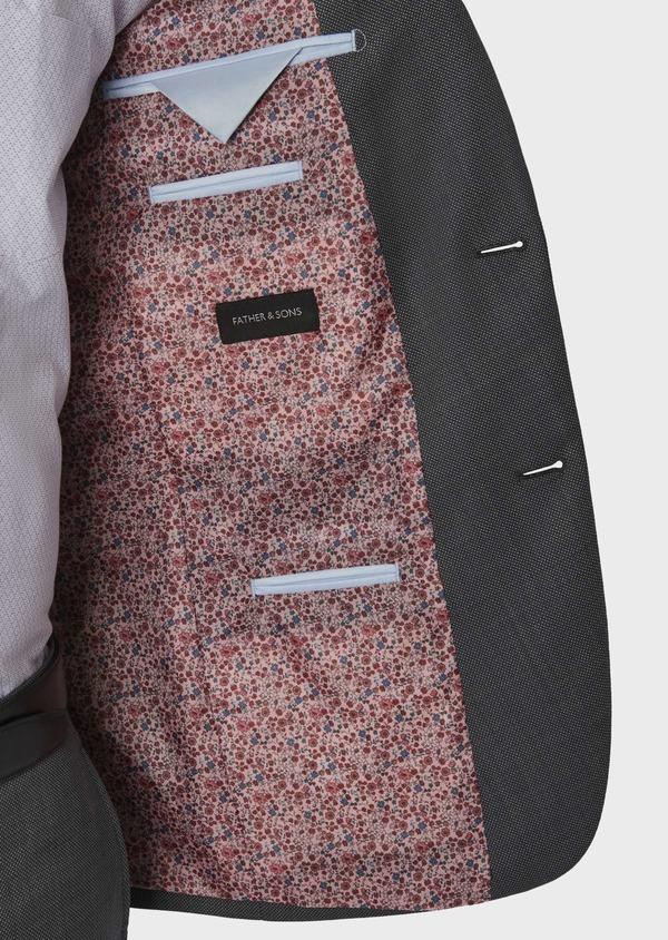 Costume 2 pièces Slim en laine texturée grise - Father and Sons 5777