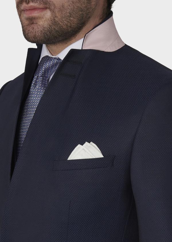 Costume 2 pièces Slim en laine façonnée unie bleu indigo - Father and Sons 5865