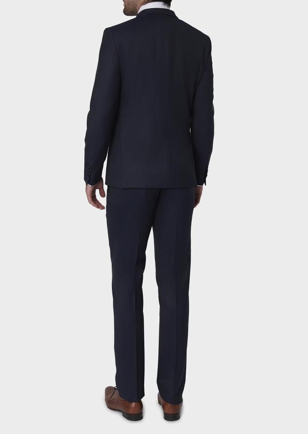 Costume 2 pièces Slim en laine façonnée unie bleu indigo - Father and Sons 5864