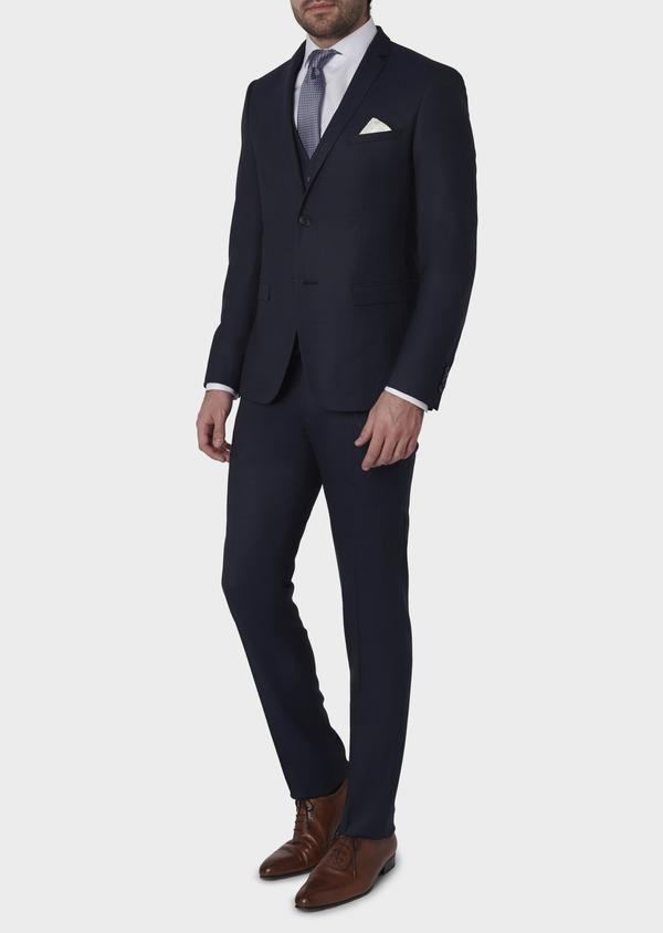 Costume 2 pièces Slim en laine façonnée unie bleu indigo - Father and Sons 5863