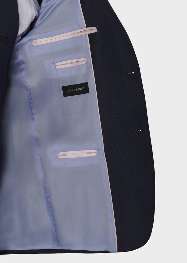 Costume 2 pièces Slim en laine façonnée unie bleu indigo - Father and Sons 5867