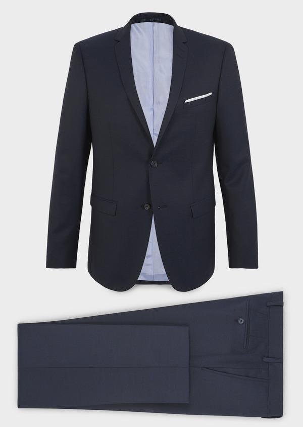 Costume 2 pièces Slim en laine façonnée unie bleu indigo - Father and Sons 5861