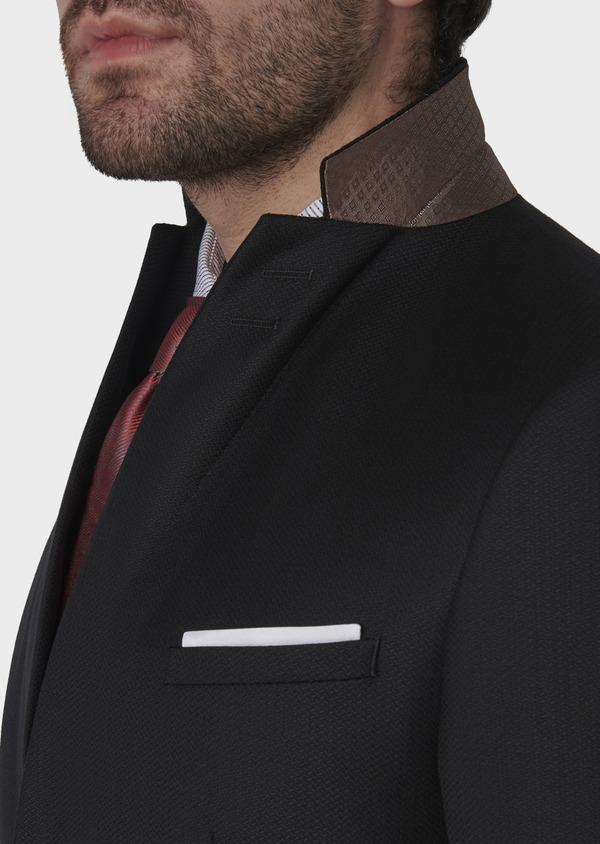 Costume 2 pièces Slim en laine façonnée unie noire - Father and Sons 5855