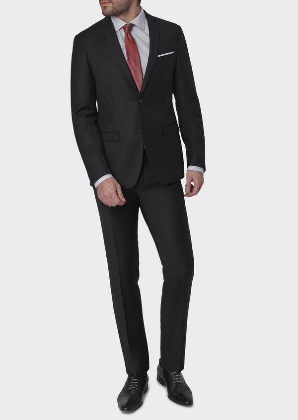Costume 2 pièces Slim en laine façonnée unie noire - Father and Sons 5853