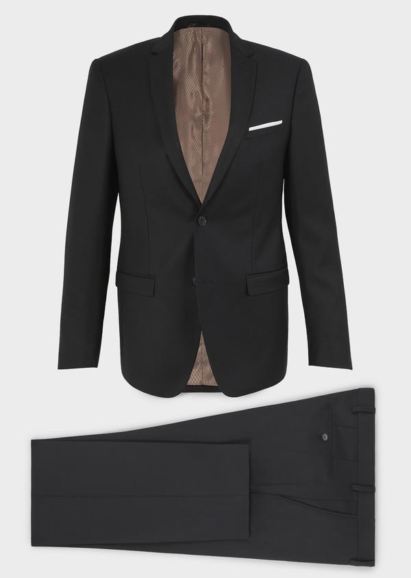 Costume 2 pièces Slim en laine façonnée unie noire - Father and Sons 5851