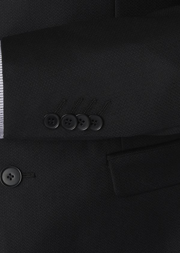 Costume 2 pièces Slim en laine façonnée unie noire - Father and Sons 5856